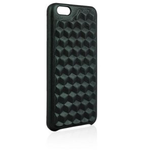 Black Cover for iPhone 3D cubic leather with futuristic pattern
